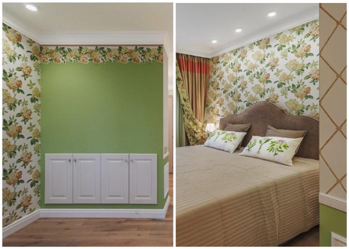 Огромные цветы гортензии на обоях стали акцентной стеной у изголовья кровати.