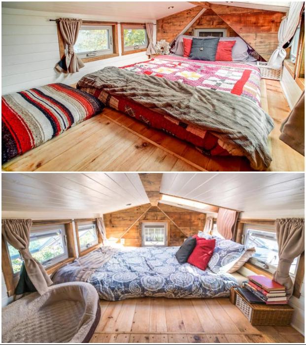 Спальня дома на колесах расположена на втором уровне (Tiny House Giant).