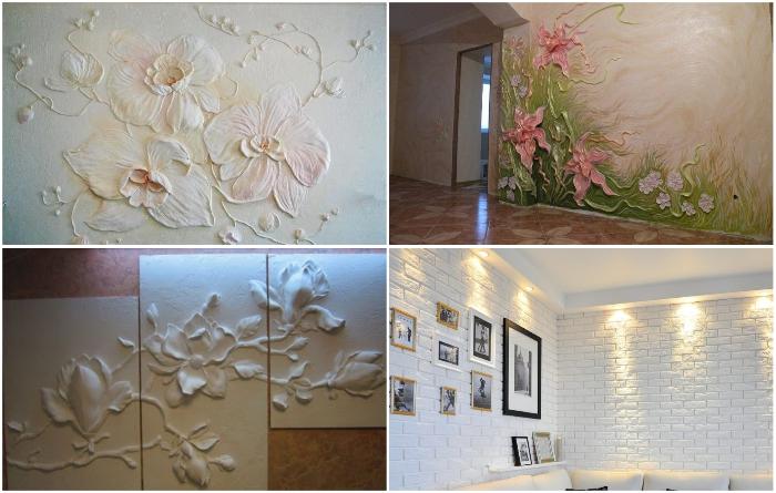 Декоративная гипсовая лепка на стенах или потолке поможет украсить любой интерьер.