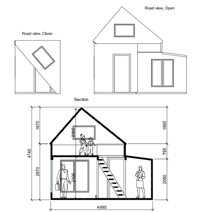 Схема-чертеж фантастической трансформации эко-домика (проект Brette Haus).