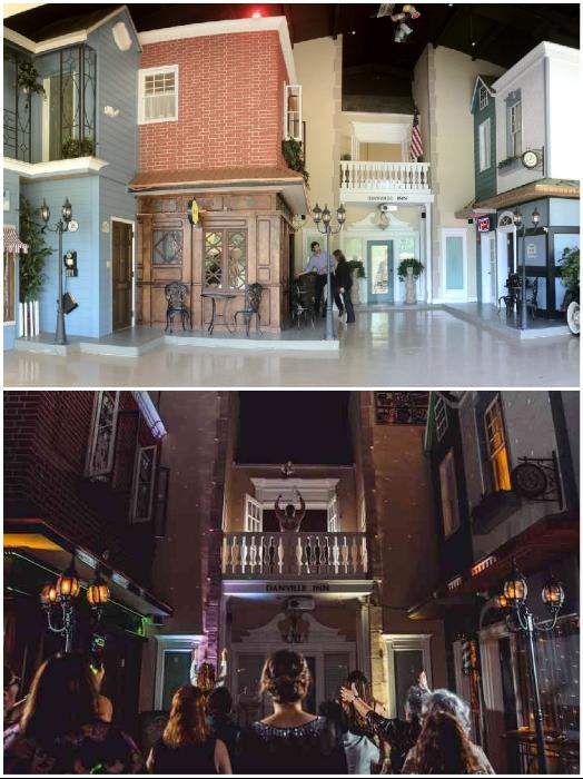 Настоящая площадь с фонарями, телефонной будкой и ратушей находятся внутри ангара («Danville», США). | Фото: danvillebnb.com.