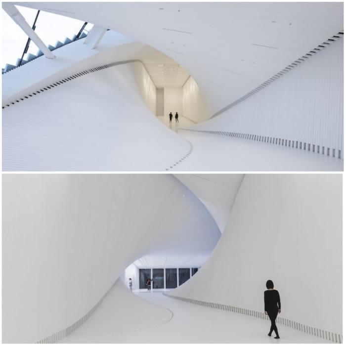 Разноуровневая конструкция и алюминиевая оболочка создают иллюзию витка (мост-музей Twist, Норвегия). | Фото: ferraraporter.com.
