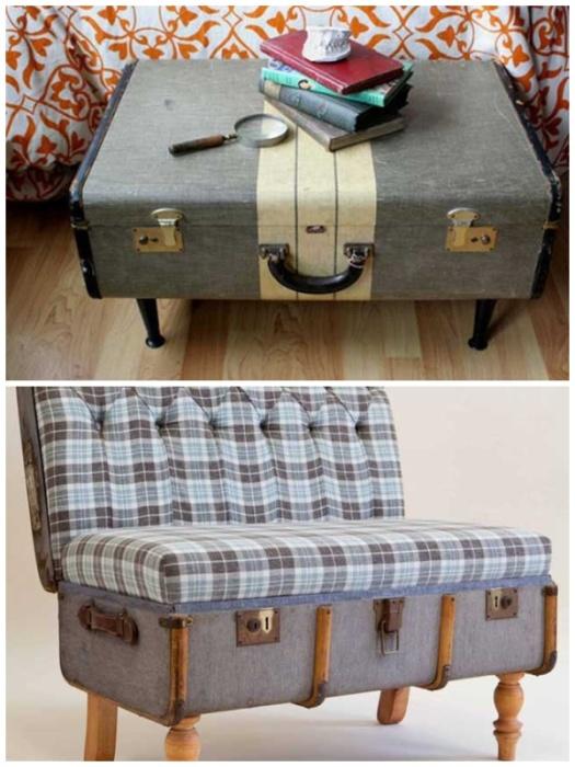 Мебель можно соорудить даже со старого чемодана. | Фото: sovet-podarok.ru.