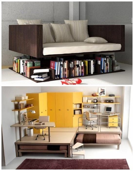 Практичные модели многофункциональной мебели. | Фото:  pinterest.com.