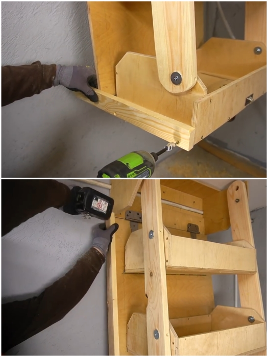 Закрепление боковых бортиков на торцах стенда и нижнего ящика. | Фото: youtube.com/ © Men's Craft.