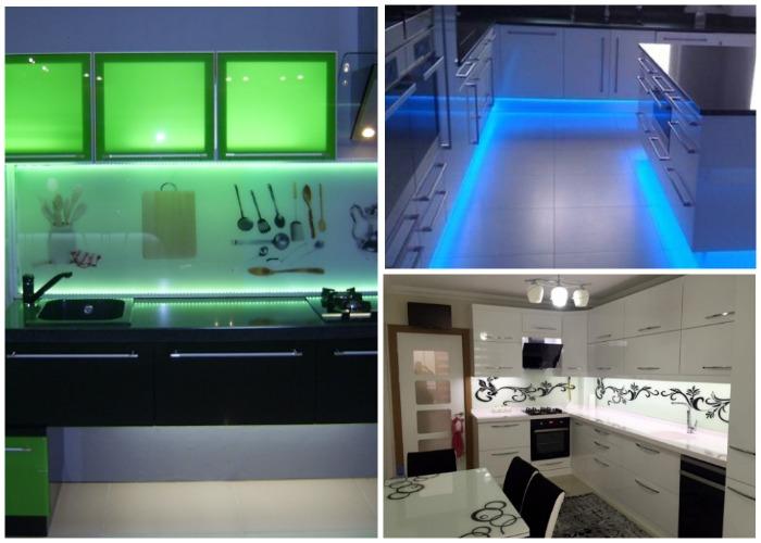Светодиодной лентой можно подсветить и пол, и кухонный фартук и даже шкафчики.