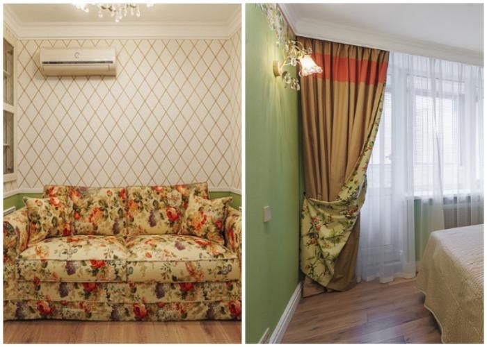 Интерьер гостиной и спальни оформлен в классическом французском стиле.