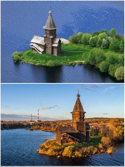 Успенская церковь 4 раза перестраивалась и такой вид имела, начиная с 1774 г. (Кондопог, Карелия). | Фото: flashnord.com/ klin-demianovo.ru.