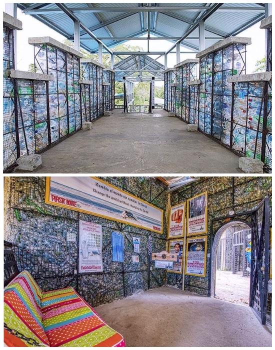 На территории Plastic Bottle Village построили символическую тюрьму из пластика (о. Бокас-дель-Торо, Панама). | Фото: onedio.ru.