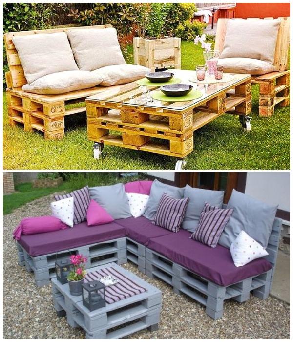 Мебель из паллетов – идеально подходит для оформления зон отдыха на свежем воздухе.