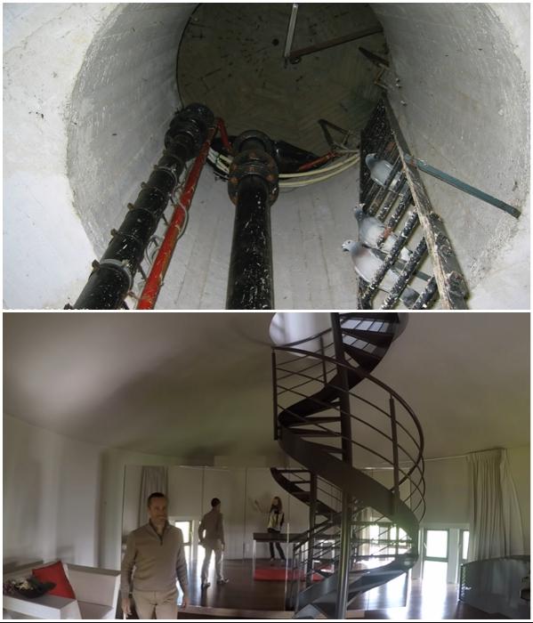 Вместо инженерных коммуникаций красуется изящная винтовая лестница («Chateau d'Eau», Steenokkerzeel). | Фото: youtube.com/ © Kirsten Dirksen.