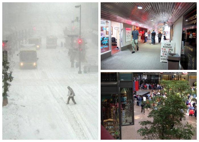 Даже когда в Миннеаполисе зимняя стужа, то в пешеходных переходах всегда комфортно и тепло (Minneapolis Skyway System). | Фото: knowhow.pp.ua.