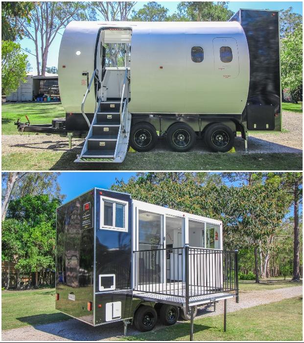 Учебный фюзеляж самолета превратился в уникальный крошечный домик Aero Tiny (Австралия).
