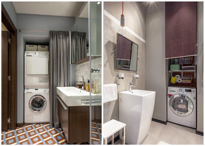 Шкафчики для стиральной машинки со шторами вместо двери.