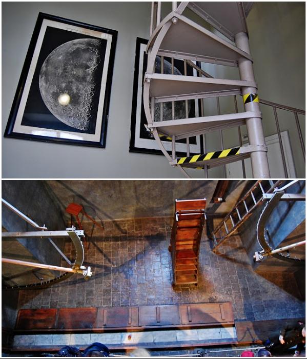 Чтобы попасть в астрономическую башню обсерватории, нужно преодолеть узкую винтовую лестницу (Клементинум, Прага). | Фото: twinshotel.blogspot.com.