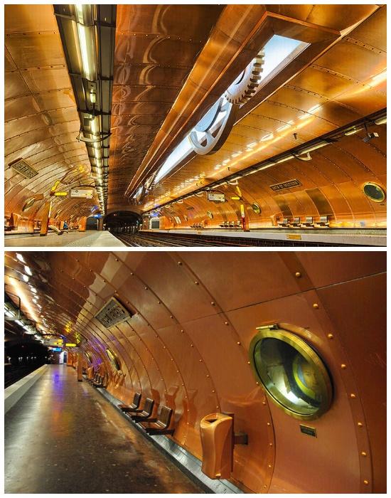 Станция метрополитена «Arts Et Metiers» в Париже  больше похожа на гигантский подводный корабль, нежели на транспортную развязку (Франция).