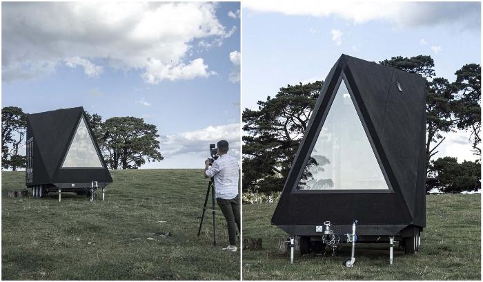 А-образная конструкция домика намного практичней и экономичней («Base Cabin», Мельбурн). | Фото: dezeen.com.