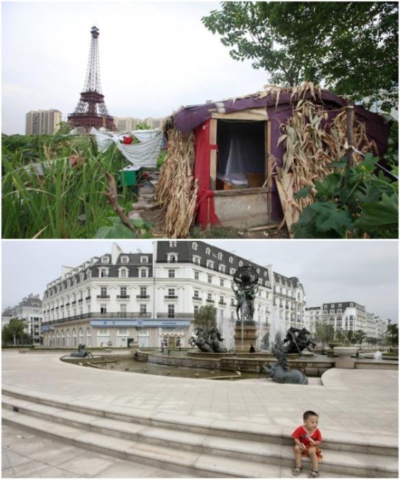 Точная копия Парижа превратилась в город-призрак, в котором живут малоимущие и военные пенсионеры, которым власти выделили временное жилье (Тиандученг, Китай). | Фото: meteoprog.ua.