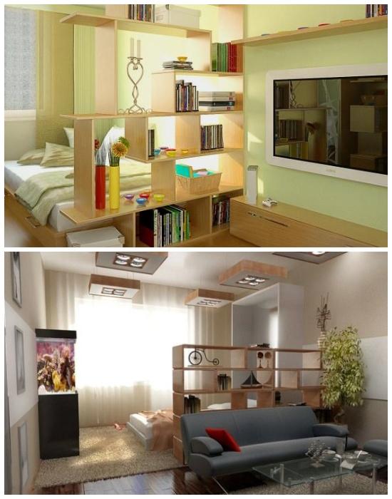 Зонирование маленьких площадей с помощью мебельных конструкций.