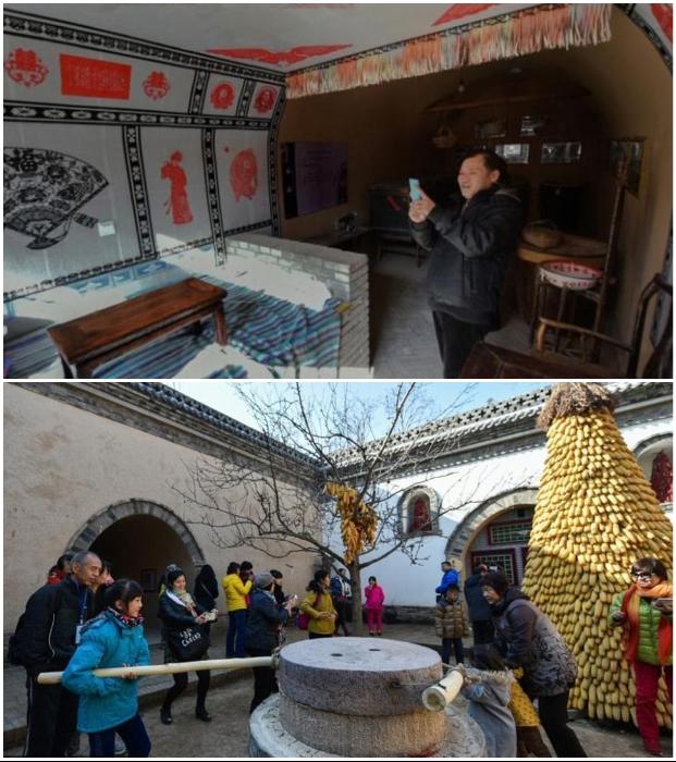 Некоторые подземные деревни превращают в туристические зоны и организовывают экскурсии (Китай). | Фото: pastuh83.livejournal.com.