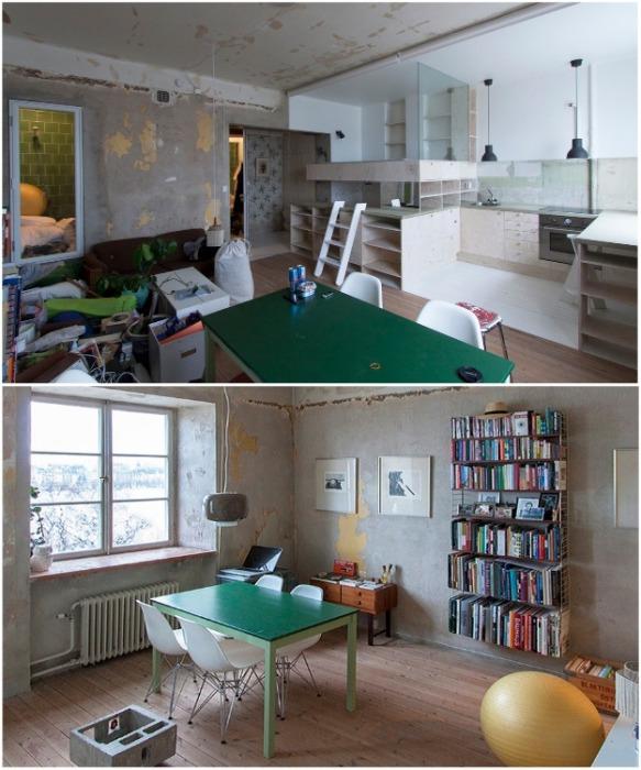 В другой половине квартиры интерьер остался в том состоянии, в котором пребывал последние 20 лет. | Фото: plataformaarquitectura.cl.