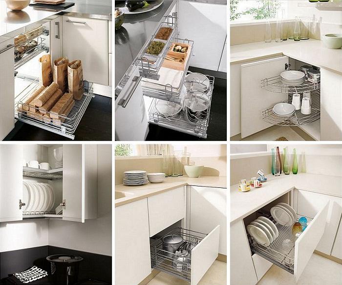 Угловые модули лучше выбирать с полностью выдвижными ящиками или специальными системами. | Фото: kitchenguide.su.