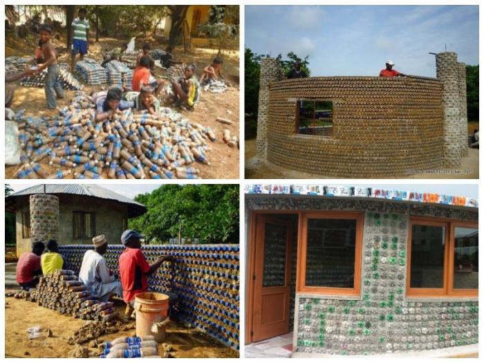 Творческим процессом строительства из пластиковых бутылок увлеклись многие беженцы, в особенности дети. | Фото: facebook.com.