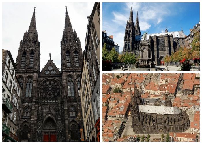 Notre Dame de l'Assoption был выполнен в готическом стиле из черного вулканического камня (Клермон-Ферран, Франция).