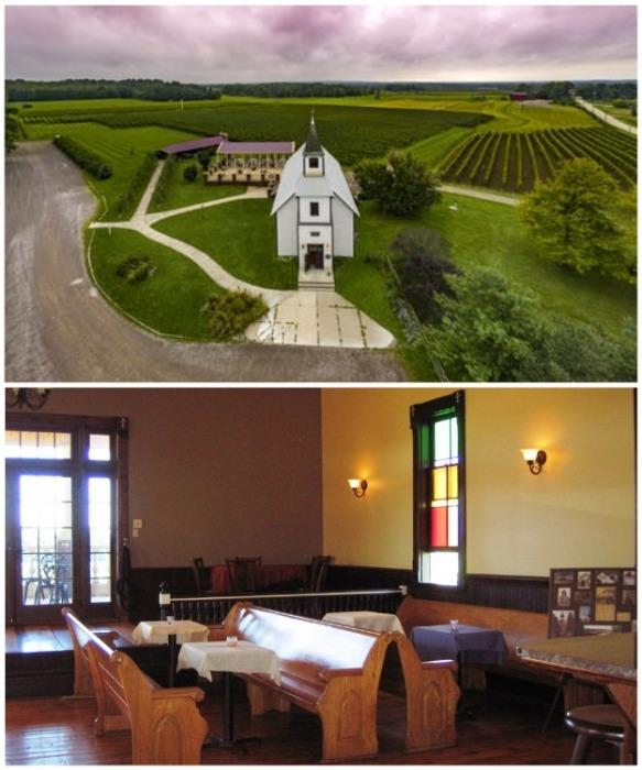 Теперь в церквушке, которой уже более 100 лет располагается винный завод South River Vineyard и дегустационный зал (США). | Фото: elemental1111.livejournal.com.