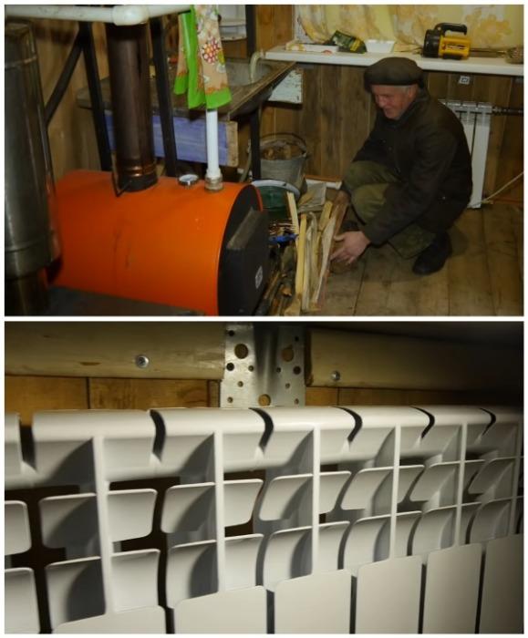В доме незрячий мужчина умудрился провести паровое отопление, и теперь никакие холода не страшны (д. Зарытки, Рязанская обл.). | Фото: youtube.com/ FORUMHOUSE.