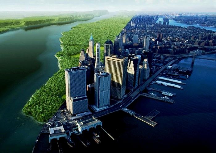 Остров Маннахатта (современный Манхэттен): до и после урбанизации (Нью-Йорк, США).
