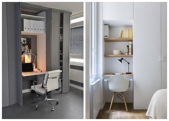 Встроенные шкафы помогут создать рабочее место. | Фото: womanadvice.ru.