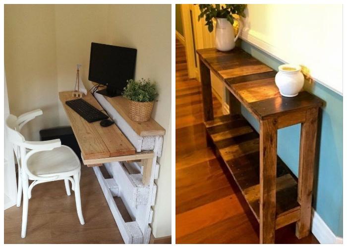 Варианты столов, сделанных из поддонов и вскрытых лаком.