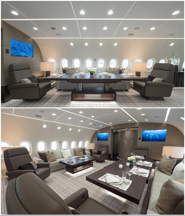 Конференц-зал в авиалайнере VVIP Boeing787 Dream Jet. | Фото: kestrelaviation.com.