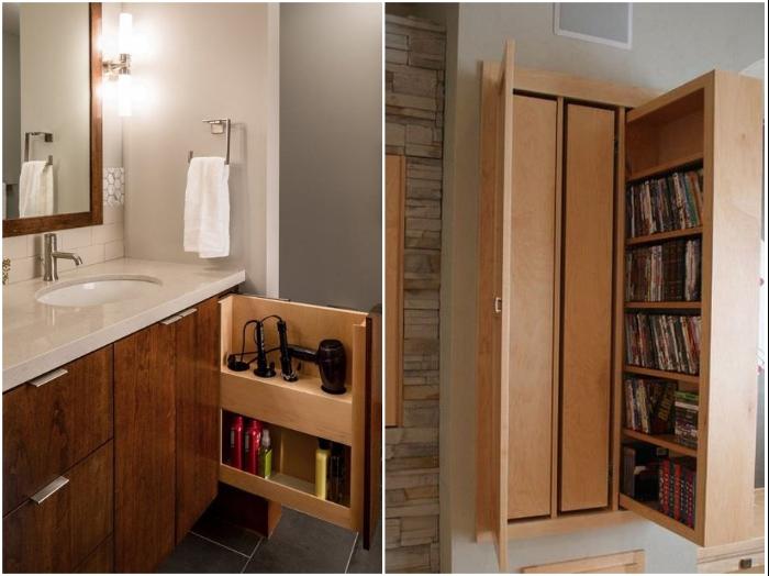 На выдвижных узких полках удобно хранить и фен с косметикой в ванной комнате и книги в гостиной. | Фото: cpykami.ru.