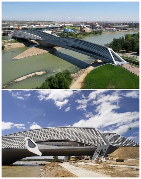 Мост-павильон Zaragoza Bridge в Сарагосе органично вписался в речной ландшафт города (Испания).