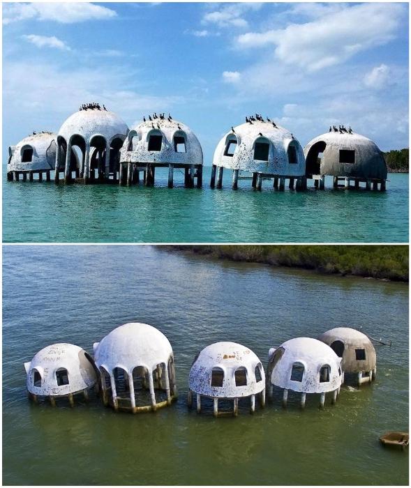 После затопления, пять из шести модулей стали жуткой достопримечательностью (Cape Romano Dome House, Флорида).