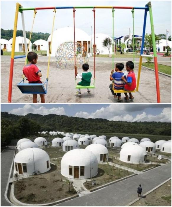 В Джокьякарте после землетрясения 2006 г. был построен жилой комплекс, который состоит из 80 купольных домов («Domes For The World»). | Фото: archfacade.ru.