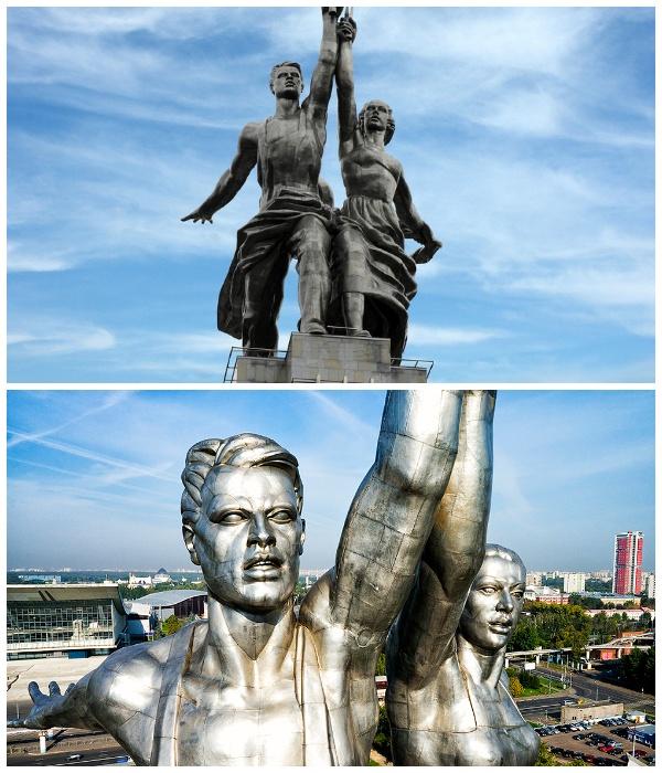 Монумент «Рабочий и колхозница» создан из 5000 элементов, которые закрепили на металлический каркас.