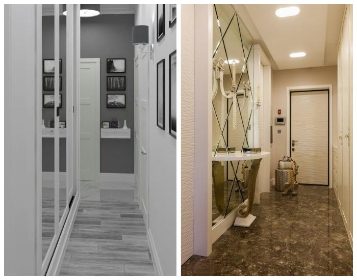 Зеркальные поверхности в дизайне узкого коридора. | Фото: yandex.by.
