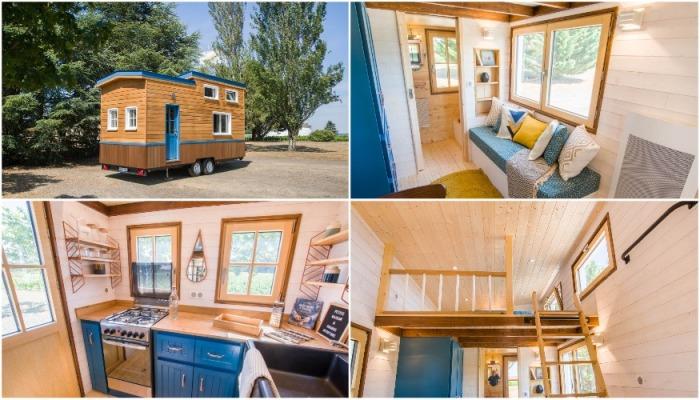 7 металлопластиковых окон обеспечивают домик солнечным теплом и светом (Solaris).   Фото: tinyhouse-baluchon.fr.