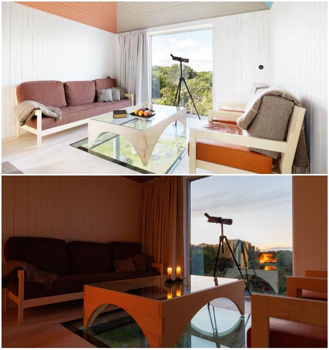 В гостиной постояльцы могут не только отдохнуть или пообщаться, но и любоваться природой с разных ракурсов («SynVillan», «Eriksberg»). | Фото: designboom.com/ sandellsandberg.se.