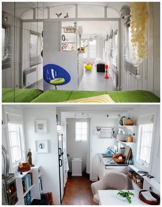 Много окон и зеркала помогут визуально увеличить площадь крошечного одноэтажного домика. | Фото: remontdizajn.ru.