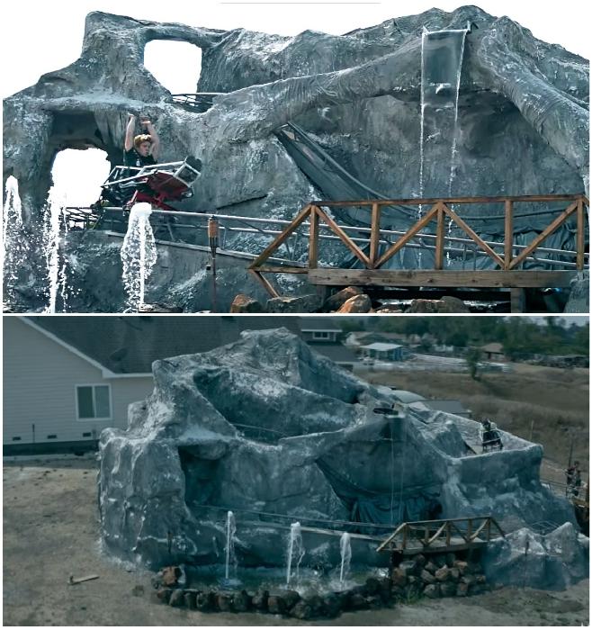 Настоящие фонтаны, водопады и мостики украшают рукотворную скалу с аттракционом Matterhorn: Alpine Escape. © Magictecture.