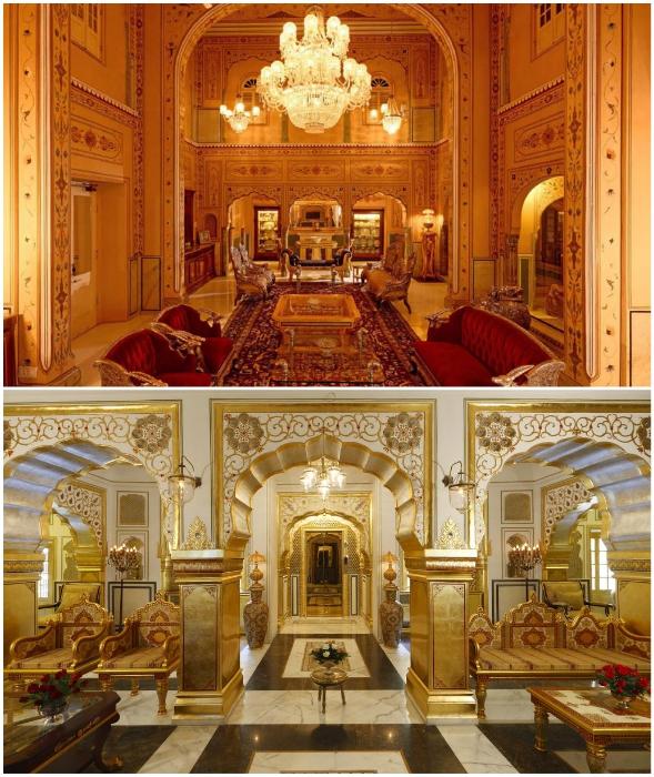 Во дворце Maharajah Pavilion можно почувствовать себя властелином мира (The Raj Palace, Индия).