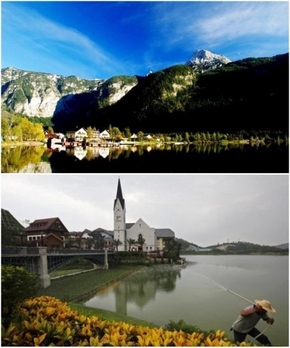 Идеально скопировали озеро Гальштата, а вот точно такие же Альпы создать не смогли (Хуэйчжоу, провинция Гуандун). | Фото: billionnews.ru.