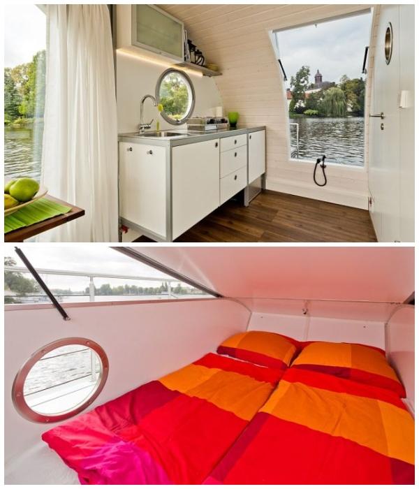 В маленьком мобильном домике поместилось все необходимое для комфортного проживая (Плавучий дом Nautilus Mini, Германия).