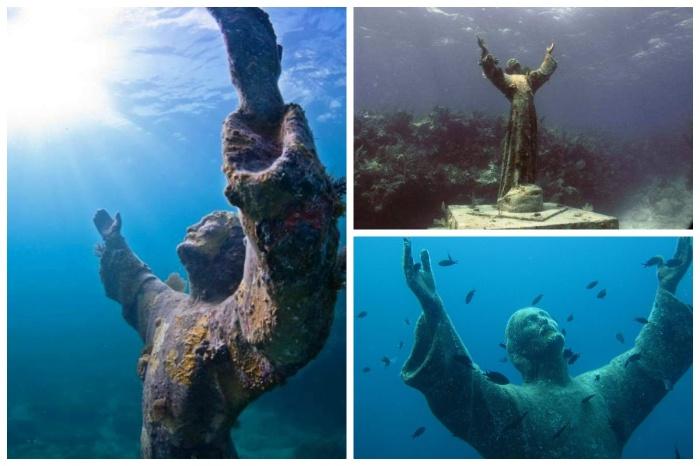 Таким волнующим способом дайверы со всего мира увековечили память утонувшего в бухте первого аквалангиста Дарио Гонзатти (бухта Сан Фруттуозо, Италия). | Фото: photo-journal.by.