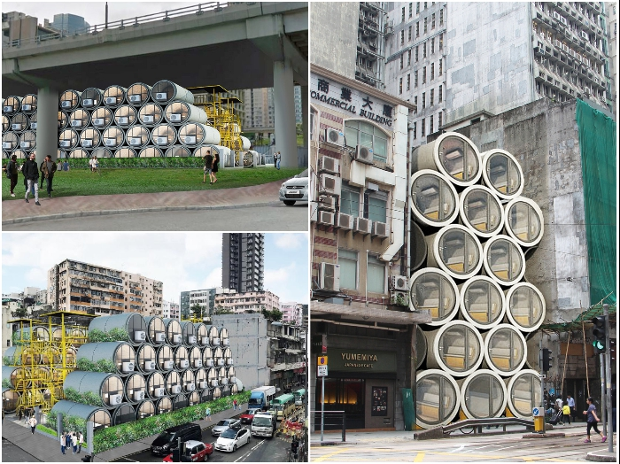 Для создания жилых комплексов можно задействовать непригодные для строительства территории (OPod Tube House, Гонконг). | Фото: realt.onliner.by/ mymodernmet.com.