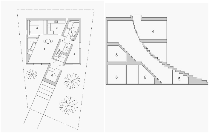 План-чертеж «Лестничного дома», который создала дизайнерская студия Nendo. | Фото: worldarchitecture.org.